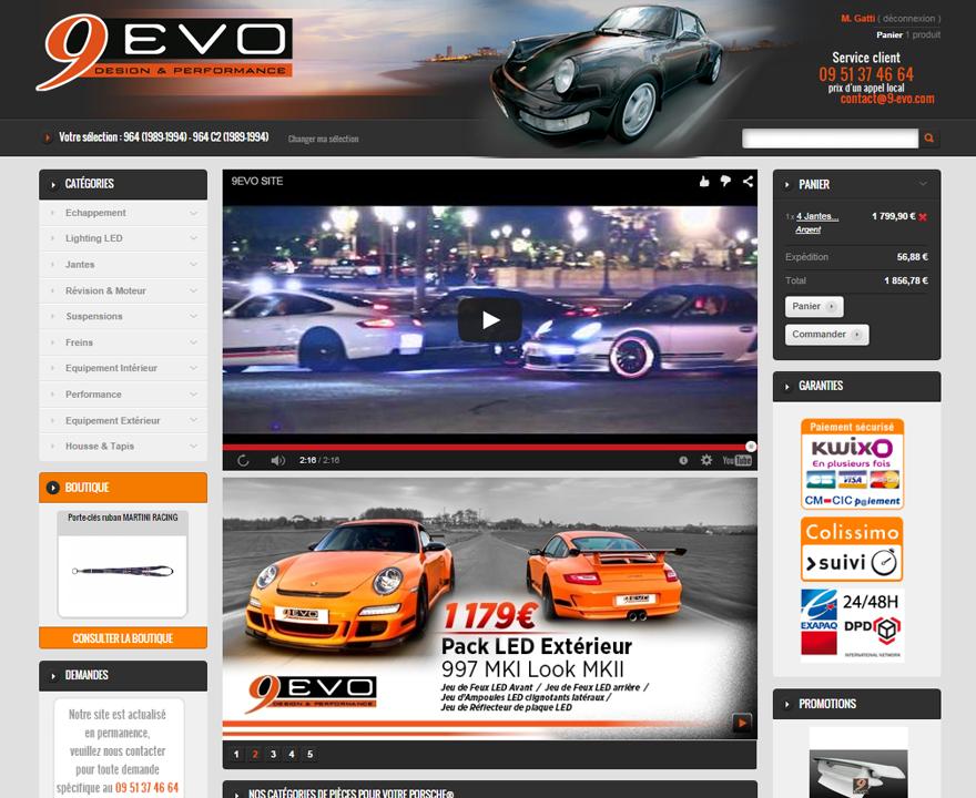 Page d'accueil du site 9evo