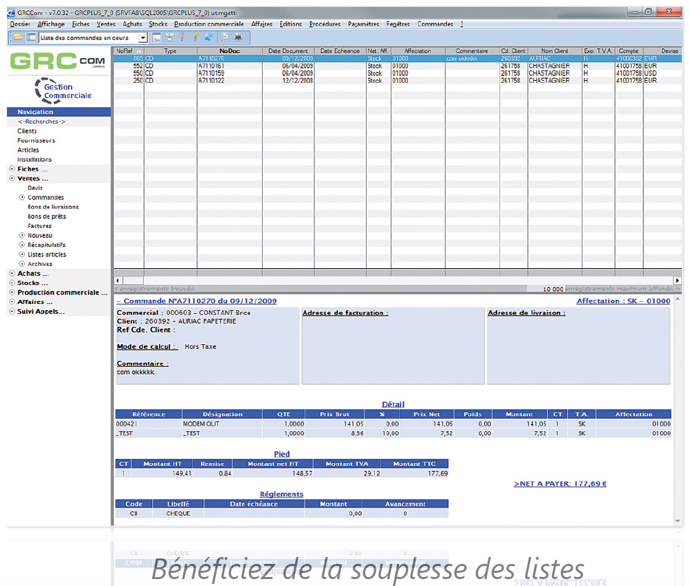 Interface de GRCcom