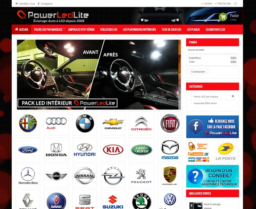 Page d'accueil de PowerLedLite
