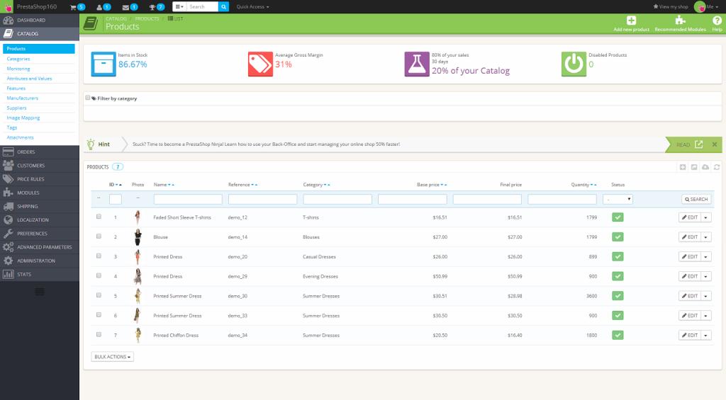 Liste des produits dans l'administration de PrestaShop