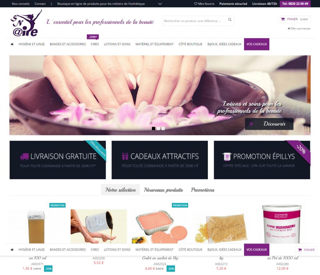 Page d'accueil du site e-commerce Aire Esthétique