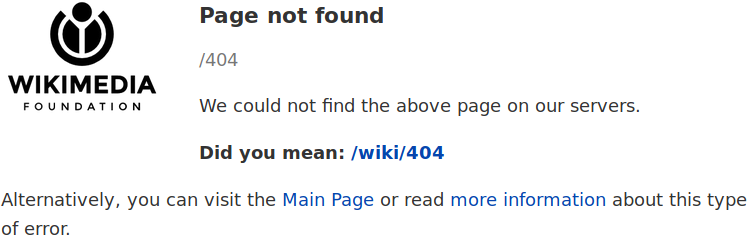 Page d'erreur 404 de Wikipédia