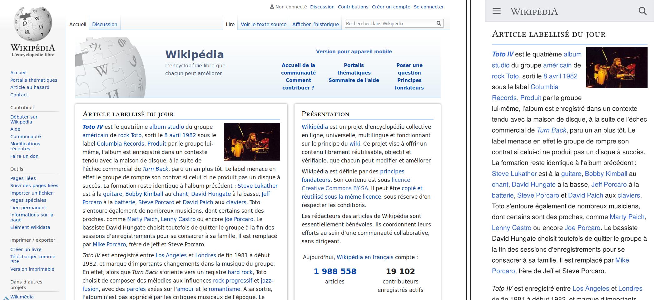 Différence entre l'affichage de Wikipédia sur un écran d'ordinateur et un téléphone portable
